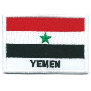 Embroidered iron on national flag of Yemen with name text.