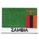 Embroidered iron on national flag of Zambia with name text.