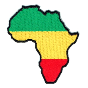 Iron on embroidered green, yellow and red african map patch