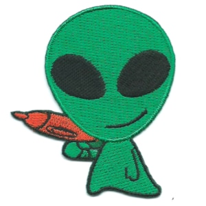 Iron on embroidered green alien patch