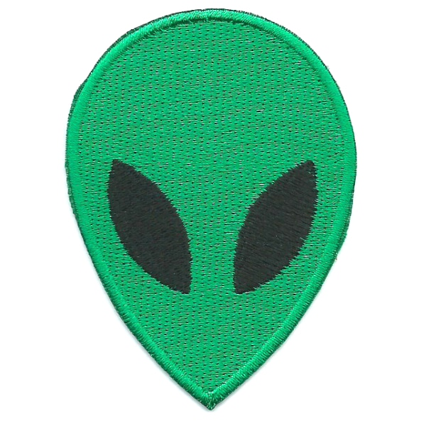 Iron on embroidered green alien head patch