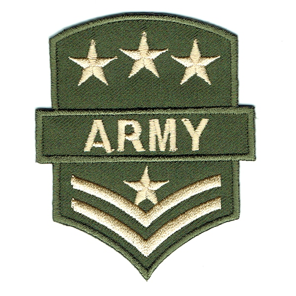 Army green iron on embroidered army rank with stars patch