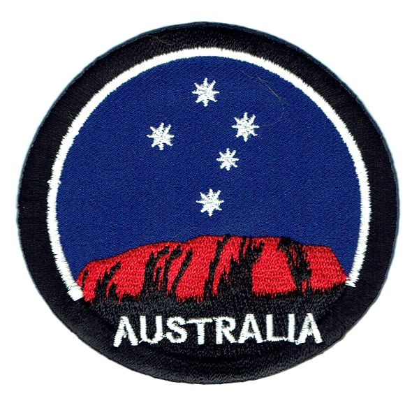 Iron on embroidered round Australian ayers rock patch
