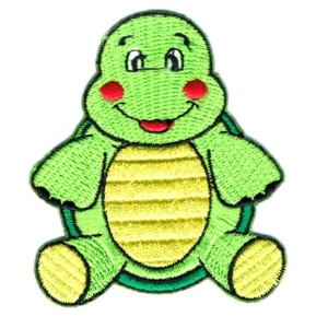 Iron on embroidered green baby turtle patch