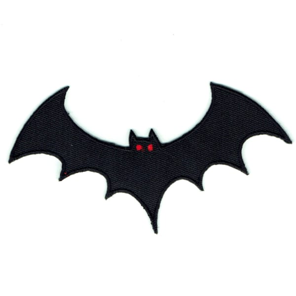 Iron on embroidered black bat patch