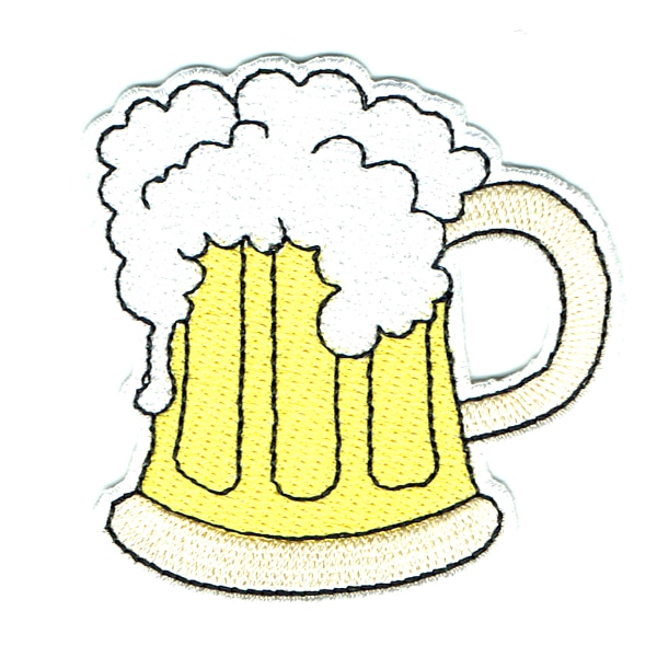 Iron on embroidered beer mug patch