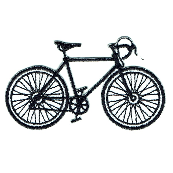 Iron on embroidered black push bike patch