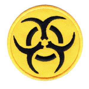 Iron on embroidered round yellow biohazard patch