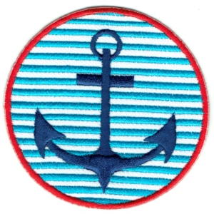Iron on embroidered round blue anchor patch