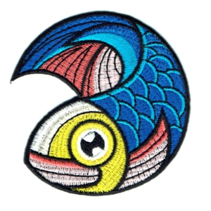 Iron on embroidered blue koi carp fish patch