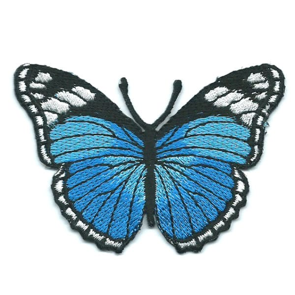 Iron on embroidered blue monarch butterfly patch