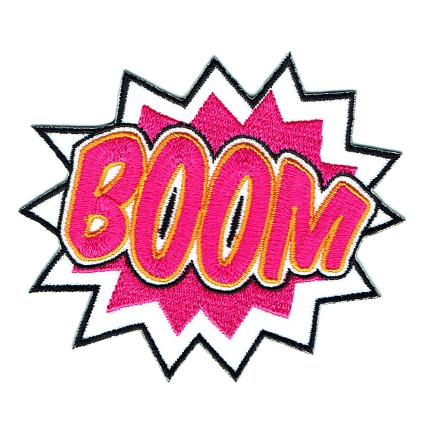 Iron on embroidered boom speech bubble patch