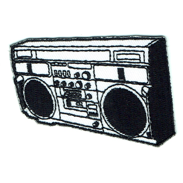 Iron on embroidered music boom box patch