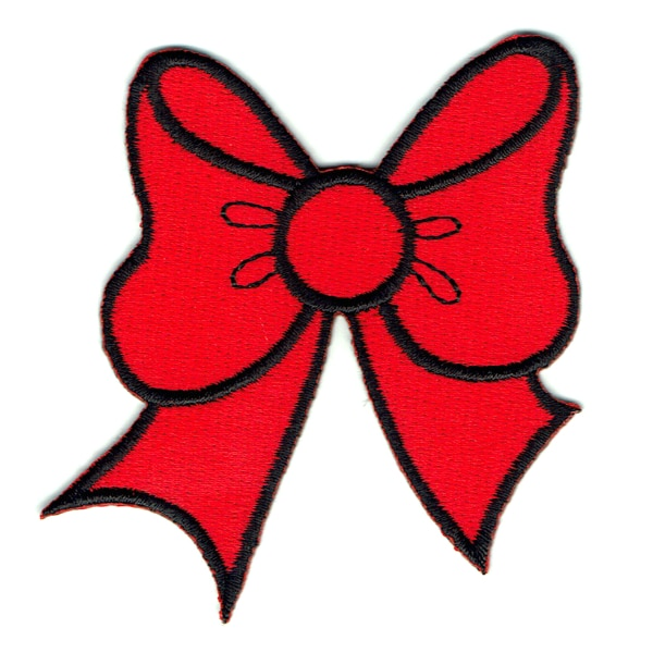 Iron on embroidered red bow patch