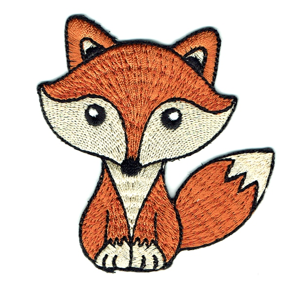 Iron on embroidered brown fox patch