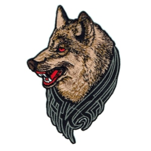 Iron on embroidered brown wolf patch