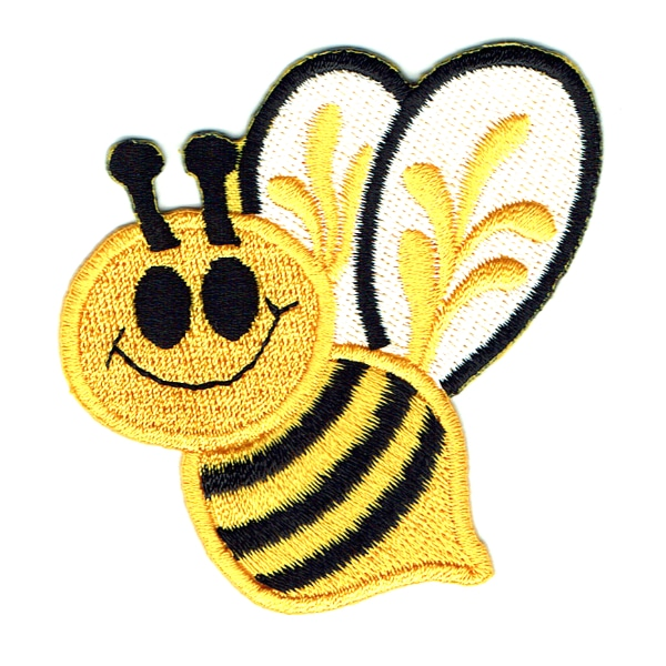 Yellow and black embroidered bumble bee iron on patch