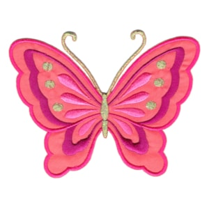 Iron on embroidered hot pink butterfly patch