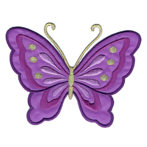 Iron on embroidered purple butterfly patch