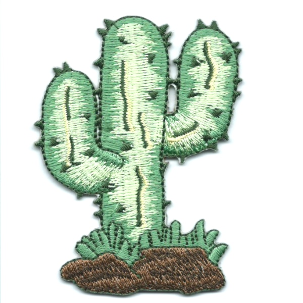 Iron on embroidered cactus patch