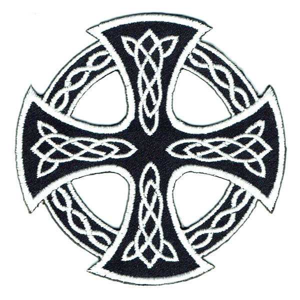 Iron on embroidered black celtic cross patch