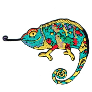 Iron on embroidered chameleon patch