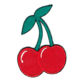 Iron on embroidered red cherry pair patch