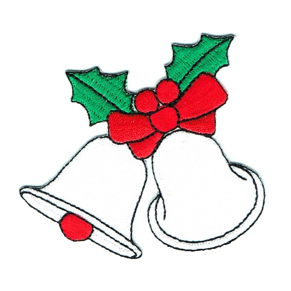 Iron on embroidered white christmas bells patch