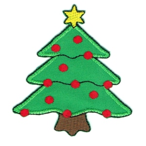 Iron on embroidered green christmas tree patch