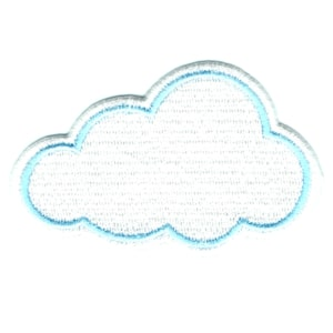 Iron on embroidered white fluffy cloud patch