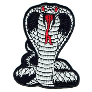 Iron on embroidered black cobra patch