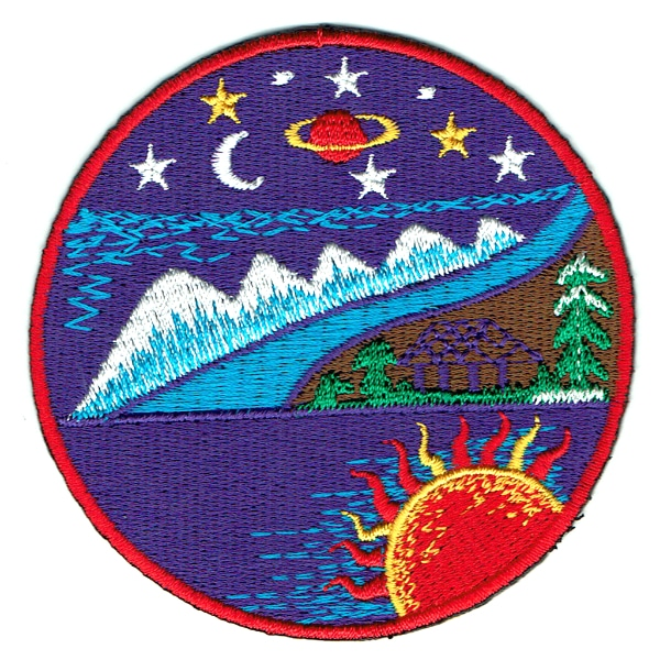 Iron on embroidered purple cosmic mountain patch