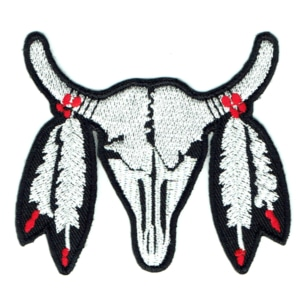 Iron on embroidered cow skull patch