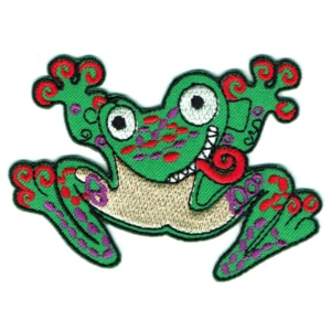 Iron on embroidered green crazy frog patch