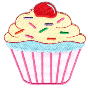 Iron on embroidered pink vanilla cream cupcake patch