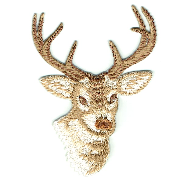Iron on embroidered deer head patch