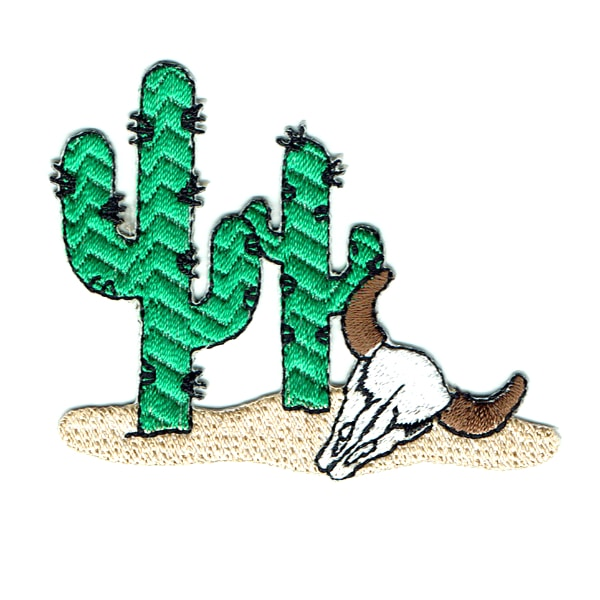Iron on embroidered desert cactus patch