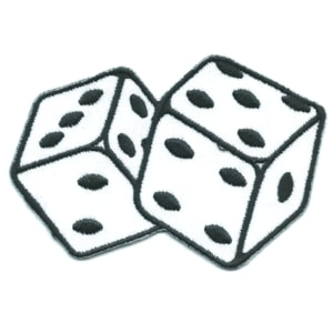 Iron on embroidered white dice pair patch
