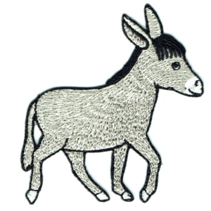 Iron on embroidered grey donkey patch