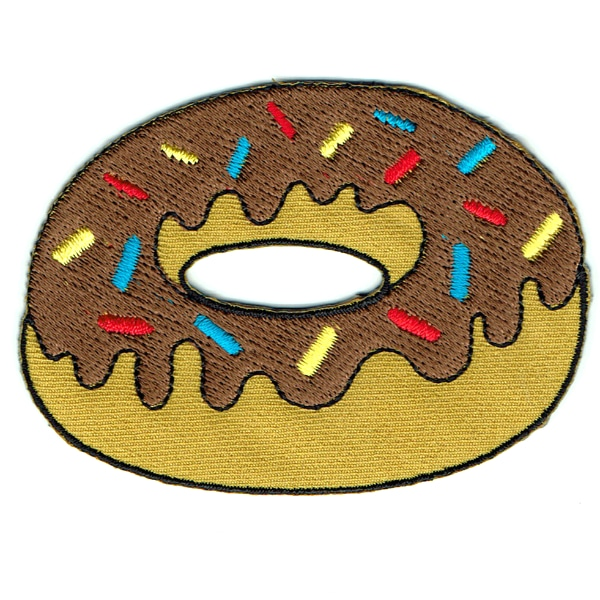 Iron on embroidered chocolate donut patch