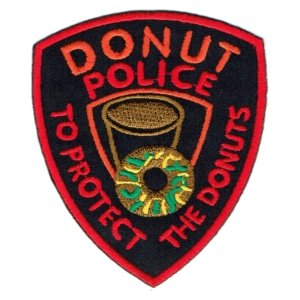 Iron on embroidered donut police shield patch