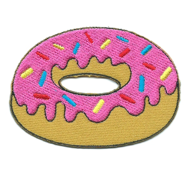 Iron on embroidered strawberry donut patch