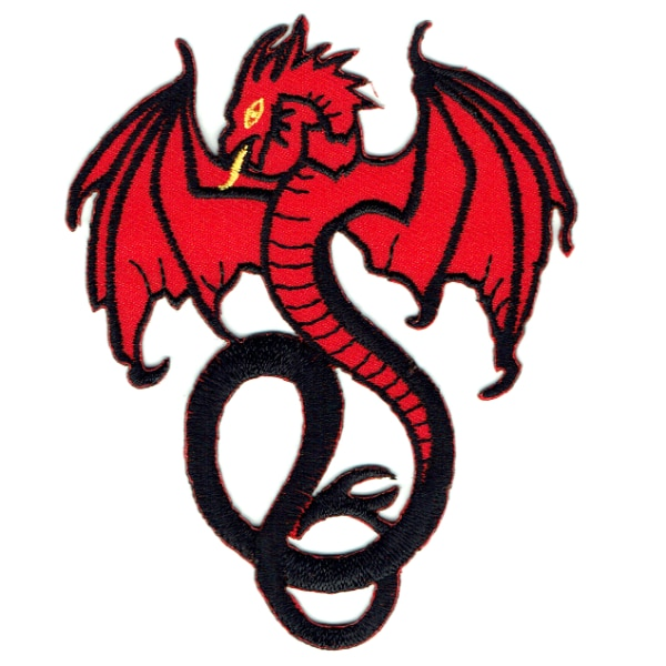 Iron on embroidered red dragon patch patch