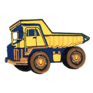Iron on embroidered yellow dump truck patch