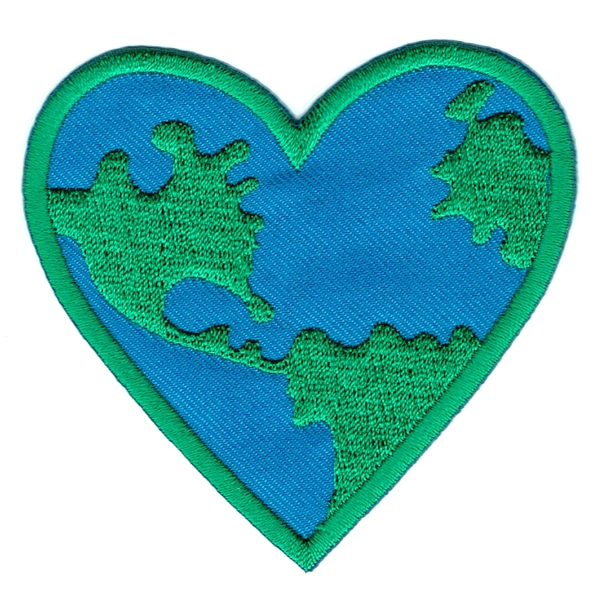 Iron on embroidered earth heart patch