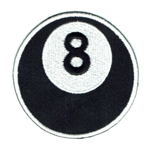 Iron on embroidered round black 8 ball patch