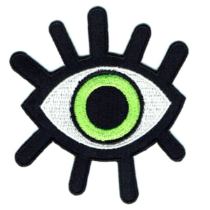 Iron on embroidered green eye patch