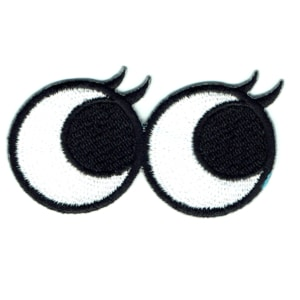 Iron on embroidered pair of eyes with eye lashes patch