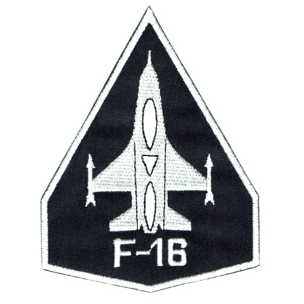 Iron on embroidered black F-16 plane patch