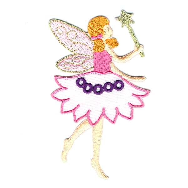 Iron on embroidered pink fairy with wand patch
